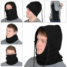 Mens 6 In 1 Black Polar Fleece Hood Snood Balaclava Neck Ski Hat Scarf Mask