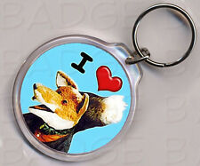 I LOVE (HEART) BASIL BRUSH KEYRING - double sided!
