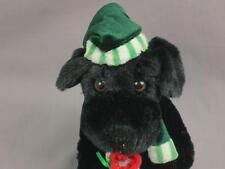 WALMART STORES SOFT BLACK PUPPY DOG GREEN CHRISTMAS HAT  STOCKING PLUSH STUFFED