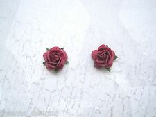 BURGUNDY RED ROSE STUD SILVER PLATED 10mm Earrings Rockabilly Gothic Flower
