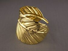 "shiny Gold tone leaf feather pattern metal bangle cuff 2"" wide bracelet"