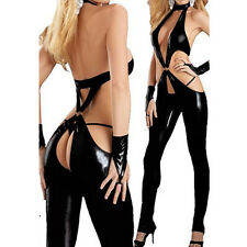 Sexy Products Latex Pu Catsuit Bodysuit Crotchless Lingerie Stripper Clubwear SM