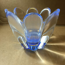 ORREFORS : Blue CRYSTAL 'MAYFLOWER' BOWL SIGNED By: JAN JOHANSSON RARE!