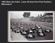 1967 F1 Jim Clark Lotus 49 Start From Pole Position, Motorsport Rare Car Poster!