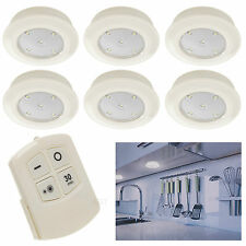 6 Remote Control Wall Ceiling Wireless Round LED Lights Kitchen Bathroom Cabinet