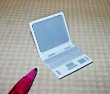 Miniature Metal Laptop Computer, WHITE/Grey: DOLLHOUSE 1/12 Scale