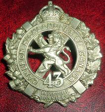 CAP BADGES-WW1 CANADIAN CEF 43rd CAMERON HLDRS CANADA  BTTN CHARLTON REF 43C-6