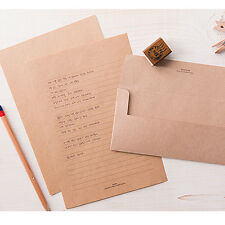 Natural Brown Kraft Letter set - 4sh writing stationary paper 2sh envelope