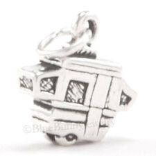 3D TRAVEL TRAILER pop up Tent Camping Hike Charm Pendant 925 Sterling Silver