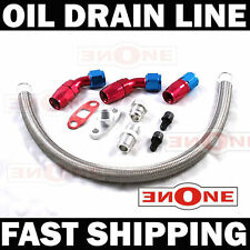 Braided Turbo Oil Return Drain Line Kit T3 T4 T70 T66 GT45 T3T4 10AN Fitting 17""
