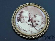 Antique Victorian Mourning Pin Brooch Cameo Two Cute Children CLEAR PHOTO