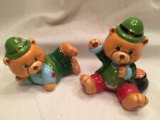 "Pair Of Ceramic Teddy Bears St. Patrick's Green Clover Pot 2"" Small Collectible"