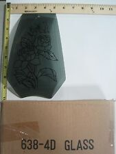 FREE US SHIP OK Touch Lamp Replacement Glass Panel Gray Flower Rose 638-4D