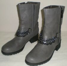New Women Vera Wang Simply Vera Rhinestone Moto Boots SMOKE GREY Size 7 Zipper