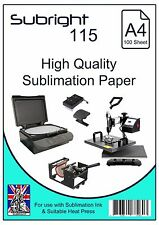 A4 Sublimation Paper (Subright 115) 100 Sheets for use Suitable Heat Press