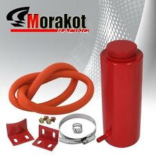 Universal Cylinder Radiator Overflow Coolant Cooling Can Aluminum Tank Red