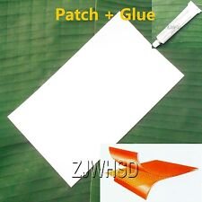 "9.4""x14"" White PVC Patch + Glue for Inflatable Boat Kayak Raft Bouncer Water Toy"