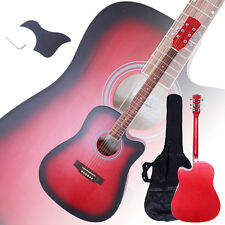 "New 41"" Full Size Adult 6 Strings Cutaway Folk Acoustic Guitar Red"