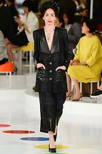 16C Chanel 2016 Cruise Runway Black Tweed Coat Jacket 40 38