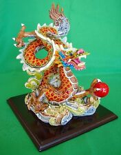 Colorful Dragon Statue Flying on Cloud