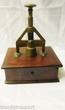 ANTIQUE CIGAR CUTTER BOX WOODEN MAHOGANY AND BRASS TOBACCO WITH DRAWER