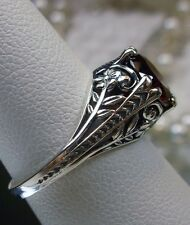 Art Deco Floral *Red Garnet* Solid Sterling Silver Flower Filigree Ring Size 6