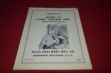 Allis Chalmers 75 Cable Control Unit Dealer's Parts Book DCPA6