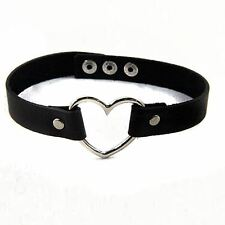Goth Punk Enchanting Leather Collor Rivet Heart Choker Collar Necklace 100172BK