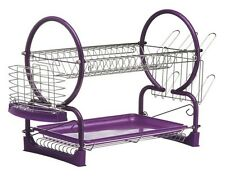 2 Tier Purple Chrome Kitchen Dish Drainer Cutlery Plates Rack Holder Drip Tray