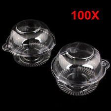 100 Individual Single Cupcake Muffin Case Pod Domes Cup Clear Plastic Cake Boxes