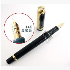 Wing sung 698 Demonstrator Piston Fountain Pen 14K Gold Fine Nib BLACK