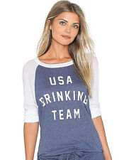 NEW NWT$88 WILDFOX COUTURE USA DRINKING TEAM TSHIRT TEE TOP BLUE WHITE FITS L-XL