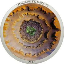 Cook Islands 2014 $5 Moldavite Impact 10 Years Meteorite 1 Oz Silver Proof Coin