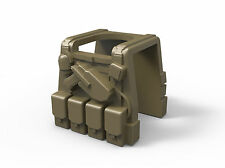 Dark Tan P1 (W61) Tactical Army Vest compatible with toy brick minifigures SWAT