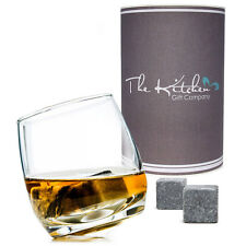 Whisky Stones & Rocking Whiskey Glass Gift Set Drinks Rocks - Fathers day Gift