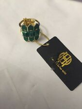 NWT House of Harlow 1960 Sugarloaf Gold Green Ring 6