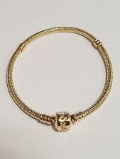 Authentic PANDORA 14K Gold Barrel Snap Clasp Bracelet #550702-18 7.1 inches NEW!