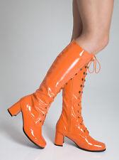 Orange Bottes Hauteur Genou - Soirée Mode Oeillet - Taille 3 ROYAUME-UNI - Verni