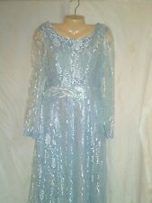 VINTAGE MISTER JAY NWOT  BABY BLUE LACE FULL LENGTH LONG SLEEVE DRESS  SIZE 10