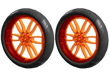 2 Lego XL Smooth Tires+Wheels (technic,tyre,robot,tread,bike,ev3,motorcycle,rim)