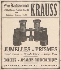 Z9174 Jumelles à prismes KRAUSS -  Pubblicità d'epoca - 1929 Old advertising