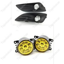 Yellow LED Fog Lights Lamps w/Bezels Kits For Ford Fiesta 2013-2015