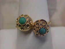 *VINTAGE*UNIQUE*TURQUOISE COCKTAIL RING 18K YELLOW GOLD sz9.75 **AMAZING PRICE**