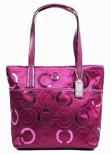 BNEW COACH Signature Op Art Sequin Tote 25470 Passion Berry Tote Bag