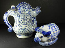 SPLENDID TRADITIONAL BLUE & WHITE CHINESE WATER BUFFALO POT & LIDDED DRAGON POT