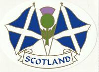 Scotland Saltire Twin Flags Oval External Car Bumper Sticker Decal