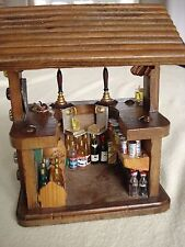 Dolls House Miniature Pub / Bar with Bottles, Beer Pump, Glasses, Cigar and Pipe