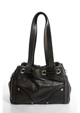 Mulberry Small Poppy Brown Leather Silver Tone Double Strap Small Zipper Handbag