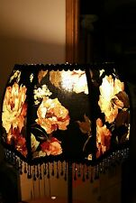 """Victorian French  Large Floor Table Lamp Shade """"Heiress""""  Black Rose Bead Fringe"""