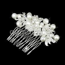 Wedding Bridal Prom Crystal Diamante Pearl Hair Comb Slide Clip Headpiece